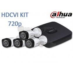Kit / DVR 4 CH / 4 Cam 720p / Metalicas / Tri-Hibrido / Canal IP Adicional 4+1 / HDMI / 4 Cam HFAW1000RM28S3 / P2P / Accesorios
