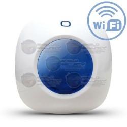Mini Sirena Inalámbrica / Azul / 433Mhz / 110dB / Con estrobos y Flash / Conexión Directa AC / Función como Mini Panel de Alarma