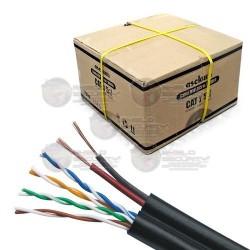 Cable UTP / CAT5e / Exterior / CCA / Incluye 2 Cables de Energía / 305 Mts / Calibre 24 AWG / Cubierta Exterior / Negro