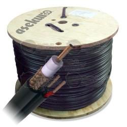 Cable Siamés / 305 Mts / Bobina / RG59/U / 22 AWG /CCA / 2 Conductores Cal. 20 / Negro