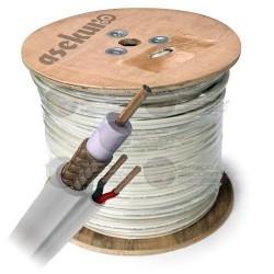Cable Siamés / 305 Mts / Bobina / RG59/U / 22 AWG /CCA / 2 Conductores Cal. 20 / Blanco
