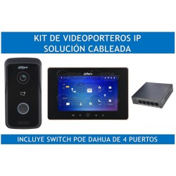 Kit Frente de Calle IP/ Apertura de Puerta Remota/ P2P / Incluye Monitor y Switch POE Dahua 4 Puertos
