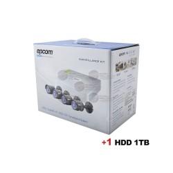 DVR 4 CH / 720p / Hik-Connect / 4 Cam Bullet / Cables / Fuente de Poder Profesional + H.D.D. 1 TB