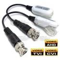 Par Transceptores / Video Balun / HD Pasivo / 1 Canal / AHD / CVI *, TVI, Cierre a presión, Con Coleta