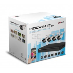 Kit / DVR 4 CH 720P / H.265 / Pentahibrido / 1 CH IP Ad. 4+1/ P2P / HDMI / 4 Camaras HFAW1000R28S3 / 20 Mts / IP67 / Accesorios