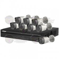 Kit / DVR 8 CH 720P / H.265 / Pentahibrido / 1 CH IP Ad. 4+1/ P2P / HDMI / 4 Camaras HFAW1000R28S3 / 20 Mts / IP67 / Accesorios