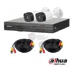 Kit 4 CH / PentaHibrido / 1080p Lite / 1 CH Add 4+1 / P2P / incl. 2 Cam B1A21 / IR 20 Mts / IP67 / Accesorios