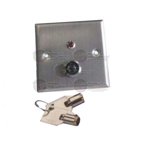Botón Liberador con Llave / Luz Led / Acero Inoxidable / Resistente al Agua / N.C. / N.O.