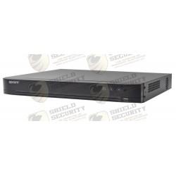 DVR 4 Megapixel / 16 Canales TURBOHD + 8 Canales IP / 2 Bahías de Disco Duro / 1 Canal de Audio / Vídeoanálisis