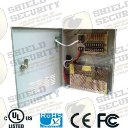 Fuente de Poder / Regulada / 12v ~ 20 Amp. / Con Distribuidor para 9 Camaras / 2.2 Amp x Canal / Cert. UL