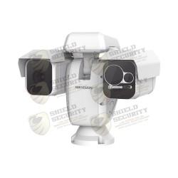 PTZ Punta de Poste IP Dual / Lente Térmico 100 mm (640 X 512) / Lente óptico 49x ZOOM (2 MP) / 500 mts IR Laser / 24VCA