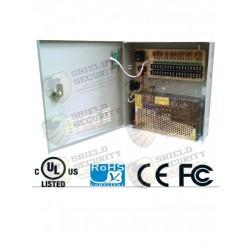 Fuente de Poder Regulada / 12V / 10 Amp / con Distribuidor para 9 Camaras