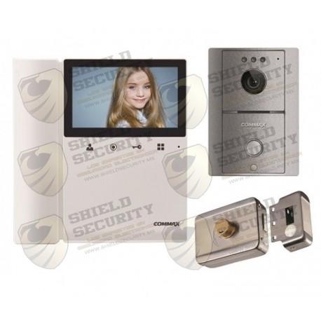 """Pack de Monitor   Color   4.3"""" Pulg.   Frente de Calle   Gris   Incluye Cerradura Inteligente   Audio y Video"""