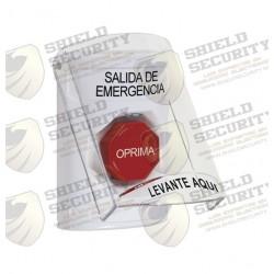 Botón de Salida de Emergencia con Sirena y Tapa Protectora de Policarbonato | Súper Resistente | Restablecimiento con Llave