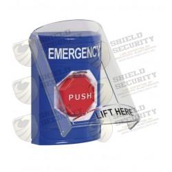 Botón de Emergencia en Ingles con Tapa Protectora de Policarbonato | Súper Resistente | Restablecimiento con Llave y Sirena