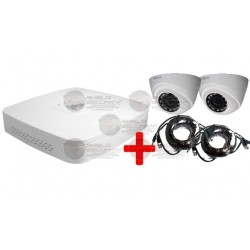 DVR de 4 CH Tri-Hibrido 720P / 2 Camaras Domo 720P / 2 Cables Video y Energía 30 Mts.