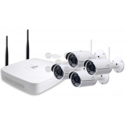 Kit NVR 4 CH / Wifi / 720p / HDMI/ VGA/ 4 Camaras Bullet IPCHFW1000SW36 / 720p / P2P/ Accesorios
