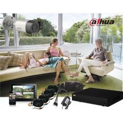 Kit de 4 CH / Tri-Hibrido / 720p / HDMI / VGA/ 4 Camaras Bullet HFAW1100R36 / 720p / P2P / Accesorios