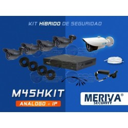 Kit DVR Hibrido MBASIC45 / 4CH + 1 CAM IP Bullet / + 3 CAM Bullet / 800TVL