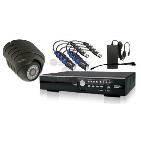 Kit DVR Hibrido 4 Canales / 4 Camaras TVI 1080P / Fuente 4.1Amp. y Pulpo / 8 Tranceptores