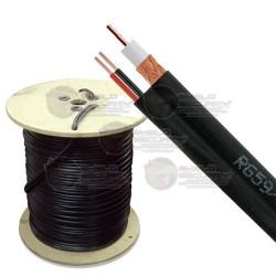Bobina Cable siamés 152 mts RG59/U, 20 AWG, Coax M90%/CCA + 2 conductores calibre 20, Color negro