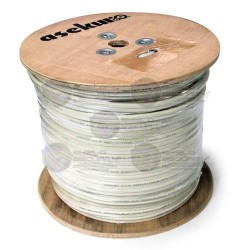 Bobina cable siamés 152 mts, Color blanco, Malla de cobre + 2 conductores calibre 18, Impedancia 75 ohms