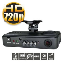 DVR Móvil Doble Cámara para Vehículos, Interior VGA, Exterior 720p, Sensor G +GPS en grabación