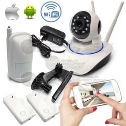 Kit Seguridad WiFi 720p, Cámara PT, Sensor PIR + 2 Sensores puerta/ventana, P2P, IR Led´s hasta 10mts, ONVIF