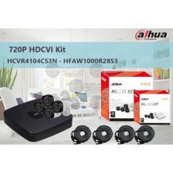 Kit / DVR 4 CH / 4 Cam 720p / Tri-Hibrido / Canal IP Adicional 4+1 / HDMI / 4 Cam HFAW1000R28S3 / P2P / Accesorios